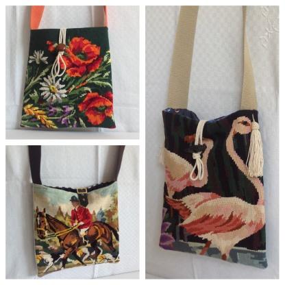 Motif flamand , bouquet de fleur ou cavalier , 3 besaces canevas vintage + toile epaisse . Bandouliere en sangle coloree .