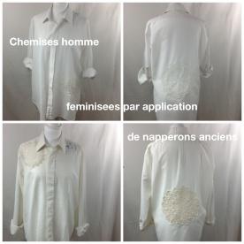 Chemises homme vintage adoucies par des applications de napperons anciens crochetés main . Bel effet de transparence ! En haut taille L . En bas taille M . Vendues 49 € chacune .